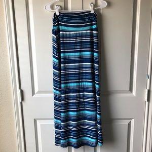 Merona blue & white striped maxi skirt